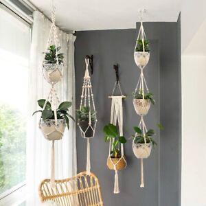 Macrame Plant Hanger Flower Pot Holder Hanging Jute Rope Basket Garden Decor
