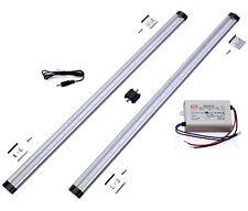 LED ALU Unterbauleuchte PAKET 2x 450Lm 50cm warmweiß Leiste 12V Netzteil Zubehör