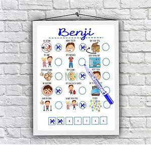 Boys reward chart, toddler behaviour print daily visual aid Autism ADHD UNFRAMED