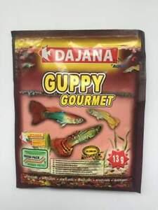 GUPPY GOURMET miniflake 13g sachet – molly fish food – garlic spirulina BBE 2/22
