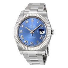 Rolex Datejust II Blue Roman Dial Fluted 18k White Gold Bezel Oyster Bracelet