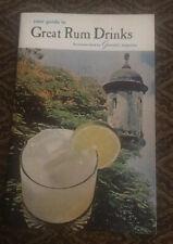 Puerto Rican Rum Pocket Guide Great Rum Drinks (undated) vintage 19 Page booklet