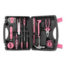 46Pcs Pink Home Repair Hand Tool Set Toolbox Knife Plier Hammer Test Pen Sockets