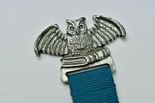 1990 SEAGULL OWL PEWTER CANADA BOOKMARK Nylon Green RIBBON BX-0