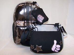 Ideology Backpack LOT SILVER BLACK Plus FREE Handbag 2 in 1 Set Crossbody
