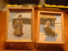 Pair of Miniature German Paintings On Board Signed O Turanin??