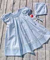 NWT Petit Ami Blue Smocked Pearl Bishop Daygown & Bonnet Newborn NB Baby Girls
