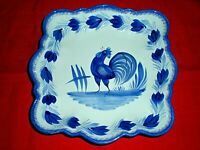 "QUIMPER POTTERY 9.25"" Square Dish Marked HB Henriot Quimper France F388 D375 PF"