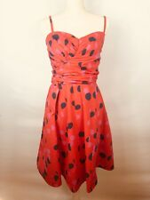 H and M size 12 women's orange dress with pink and navy dot dress