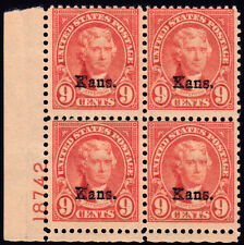 #667 - KANSAS Overprint 9 Cent Jefferson, Plate Block of 4, # 18742, MNH, 1929.