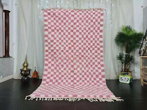 Berber Handmade Moroccan Beni Ourain Wool Rug 4'8x8'5ft Checkered White Pink Rug