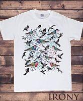Mens White T-Shirt Colourful Birds Beautiful Nature Lover Novelty Print TS538