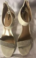 Style & Co. Phyllis Ankle Strap Dress Sandals Ivory White Metallic Size 11