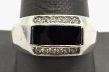 Men's Sterling Silver Black Onyx Rectangle Inlay - CZ Groove Illusion Band Ring
