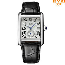 Original EYKI Roman Number INDEPENDENT Second dial Black Leather Strap Men watch