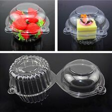 100 Clear Plastic Single Cupcake Cake Case Muffin Pod Dome Holder Box Container