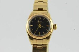 Rolex Oyster Perpetual Lady Women's Watch 26MM 18K 750 Gold 6619 With Goldband