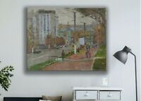 Original oil painting, city landscape, impressionism art, city in summer