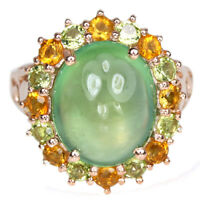 NATURAL AAA GREEN PREHNITE, CITRINE & PERIDOT STERLING 925 SILVER RING SIZE 6.75