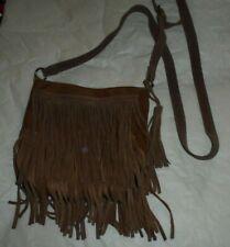 MOSSIMO Rugged Leather Fringe Faux Leather Body Shoulder Crossbody Handbag
