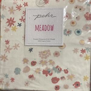 Pehr Designs Meadow Crib Sheet, 200 Thread Count,100% Organic Cotton,Pink