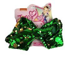 "New Nickelodeon JoJo Siwa Large Hair Bow 7"" Green & Gold Sequins"