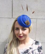 Royal Blue Bronze Brown Feather Pillbox Hat Hair Fascinator Races Vintage 3114