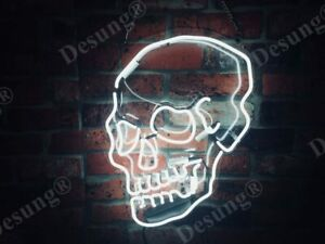 New Skeleton Haunted Skull Neon Sign Light Lamp Man Cave Wall Hang Multiple Size