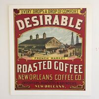 Past Cards Postcards- Obsolete Vtg Labels - Desirable Roasted Coffee New Orleans