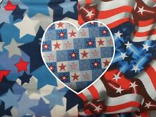 Patriotic Print Variety 100% Cotton Quilting Quality Flags and Stars Your Choice