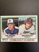 1978 Topps 1977 Strikeout Leaders, Phil Niekro and Nolan Ryan #206 EXMNT
