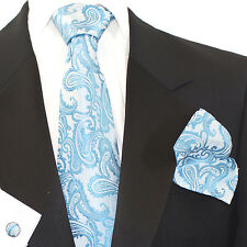 Gift Box Men Blue Turquoise Paisley Woven Tie+Hanky & Cuflinks Matching Set ps24