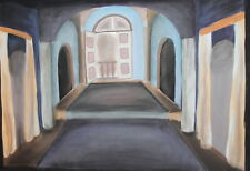 Vintage interior theatre stage design gouache drawing