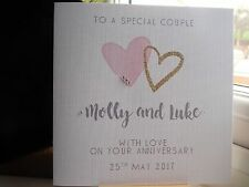 Handmade Personalised Wedding Anniversary or Anniversary Card