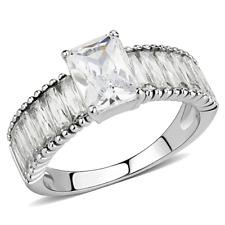 Fancy Radiant Cut & Baguette CZ Accents Stainless Steel Engagement Ring Sz 5-10