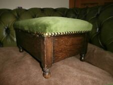 Bespoke Storage Foot Stool. Upholstered in Green Velvet. 15 x 10 x 7.5 inches