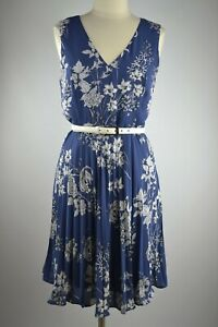 BANANA REPUBLIC NWT $99 Womens Dress Sleeveless Pleated Floral Blue Dress 10