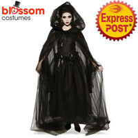 K862 Black Gothic Halloween Cloak Cape Medieval Wizard Costume Witch Vampire