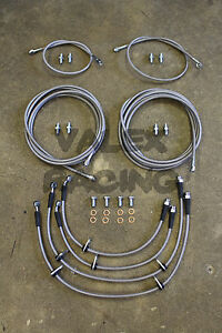 Front & Rear Brake Line Replacement Kit For 96-00 Honda Civic w/rear disc