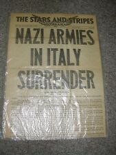 NAZI ARMIES IN ITALY SURRENDER,  Newspspaper, May 3, 1945, Star and Stripes