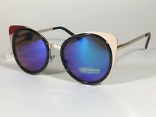 New Lucky Brand Round Cat Ocean Sunglasses Gold Black Metal Blue Green Mirror