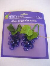Christmas House Merry & Bright 2 Decorative Glass Purple Grapes Ornaments NWWT