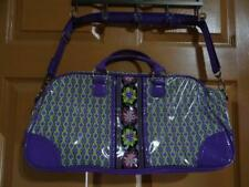 VERA BRADLEY FRILL PURPLE PINK GREEN FLOWERS TRAVEL BAG FAUX PATENT LEATHER