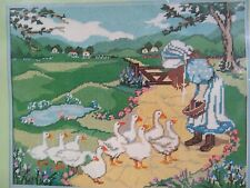 """Candamar Designs """"Country Goose Girl"""" Printed Canvas Needlepoint Kit 30467"""