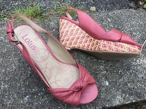 Red Peep Toe Espadrille Wedge Shoes UK 4 Vintage 1950s Bombshell Cottagecore