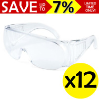 NEW 12x Safety Glasses Clear Polycarbonate Lenses Protective Goggles Workwear