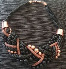LADIES BLACK & ROSE GOLD CHUNKY CHOKER STATEMENT BEADS /CORD (diva) NECKLACE
