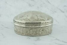 Beautiful engraved Floral antique silver Persian box, 19th. Cent. marked