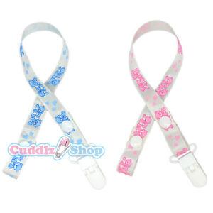 Cuddlz Teddy Bear Pattern Dummy / Pacifier Clip Adult Sized Blue or Pink
