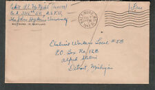 WWII cover Cadet R E McNeill Co A 3312 SU ASTU John Hopkins University Baltimore